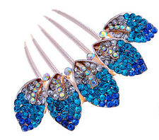 Luxury Sparkle Crystal Royal Blue Leaves Wedding Hair Accessories Comb HA165