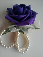 Prom /Wedding Cadbury Purple Rose Wrist Corsage ivory pearl bracelet