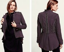 NEW FREE PEOPLE $168 PLUM VICTORIAN LACE UP MILITARY JACKET SZ S SMALL