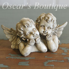 Shabby Chic Twin Cherub Ornament Gift Vintage Antique Style