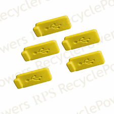 5 Yellow RUBBER SILICONE ANTI DUST USB PLUG COVER STOPPER for Computer Laptop