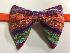 Handmade Knit Bow tie Vintage style 70`s Bowtie Pre-tied Adjustable Orange multi