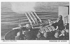WWII Vendor Arcade / Mutoscope Card- US Warship- AA Guns- Pom-Poms in Action