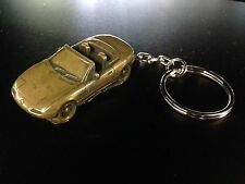 Mazda MX5 (Miata) RHD Brass Effect 3D split-ring keyring FULL CAR ref123