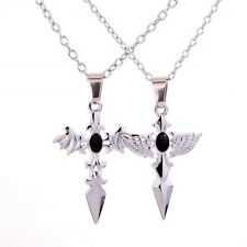 Stainless Steel Angel & Evil Wing Cross Design Pendant Couple Necklace Chain