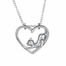 18K Cubic Zirconia Heart Pendant Cats Rolo Chain Charm Necklace For Women Gift