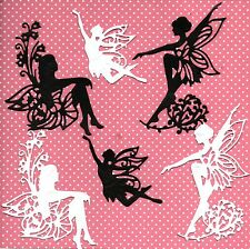 12 NEW TONIC FAIRY DIE CUTS -BLACK/WHITE SILHOUETTE TOPPER-CHRISTMAS EMBOSSED
