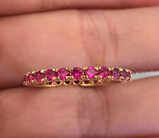 14k Yellow Gold Ruby Eternity Wedding Anniversary Band Ring sz6