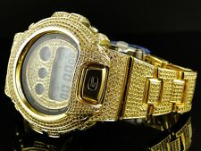 New Mens G-Shock Iced Out Canary/Yellow Simulated Diamond Watch 6900 15.5 Ct
