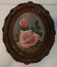 HAND PAINTED PINK ROSE PICTURE ON CANVAS IN ORNATE WOOD FRAME