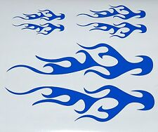 CUSTOM  FLAME VINYL DECALS BIKE HELMET STICKERS BLUE SET OF 3 NEW #08