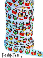 Designer 3 Yards 5/8 Print Fold Over Elastic FOE - Back to School Reading Owls