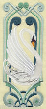 SWAN  ART DECO EMBROIDERED SET 2 BATHROOM HAND TOWEL by laura