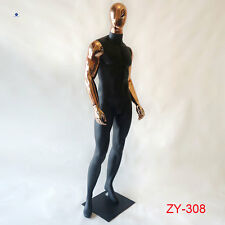 Seven Styles Available Black Fiberglass Male Mannequin With Gold Head and Arms