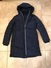 Lands End Goose Down Long Puffer Jacket Coat Navy Blue Zipper XS Extra Small 2-4