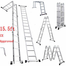 15.5FT Multi Purpose Aluminum Folding Step Ladder Scaffold Extendable Heavy Duty