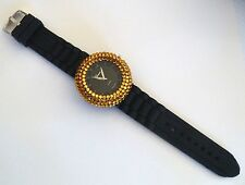 Women's Geneva  Silicone Rubber Jelly Band Watch With Gold Rhinestone Bezel