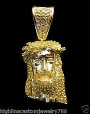 0.44ct Men's Genuine Round Cut Diamond 10K Yellow Gold Jesus Head Design Pendant