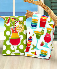 """NEW Set of 2 Summertime Themed Kitchen Towels Picnic """"Cocktails"""" 16 x 26 inches"""