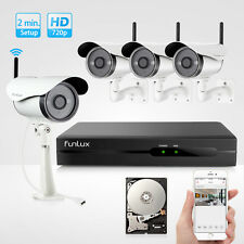 Funlux 720P HD Outdoor Wireless IP Network Home Security Camera System 4 CH 1TB