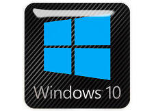 """Windows 10"" Black 1""x1"" Chrome Domed Case Badge / Sticker Logo"
