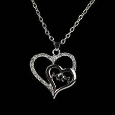 Double Heart Crystal Pendant Necklace Mom Mother's Day Present Fashion Jewelry