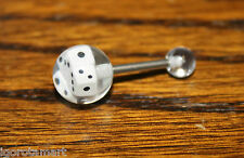 SINGLE STEEL TONGUE BAR / BARS BIG 10MM DICE BALL PIERCING JEWELRY