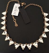 """NWT J. CREW  Shiny CRYSTAL TRIANGLE GOLD PLATED NECKLACE 18""""long & Dust Bag"""