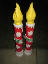 """2 New Vintage 38"""" General Foam Plastic Lighted Noel Candle Christmas Blow Mold"""