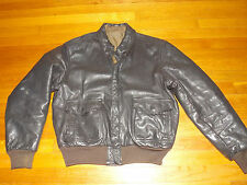 1980's Unknown Brand A2 Flight Jacket Brown Leather Est. Men's Size 40-42 (used)
