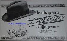 PUBLICITE 1925 DELION CHAPEAUX CHAPELIER  ORIGINAL FRENCH AD HAT