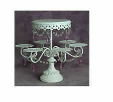 "Amazing Rare White with Clear/Pink Crystal 6 Cupcake Stand with 7"" Cake Platform"