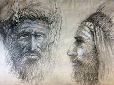 Orientaliste portraits hommes face profil Maroc Algérie fusain déb XXe anonyme