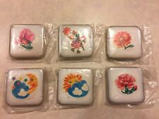 Unique Flower, Sun & Moon Homemade Tile Mounted Magnets - Lot of 6