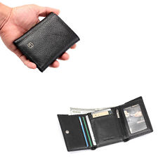 Men Leather Trifold Wallet ID Coin Holder Clutch Checkbook With Zipper Pocket