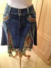 Ladies Denim And Jungle Print Summer Skirt NO.L.ITA NYC Size 44 Flash +Partne