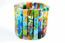 Sobral POLLOCK FEMALE Swirly Resin Stretchy Long Baton Bead Bracelet Brazil