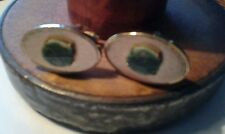 Mens Cufflinks Gold Tone with Jade Center