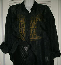 VTG 90s FENDI SHEER OF HERSELF LOGO FF CELEBRITY BLOUSE BLACK ITALY  *AS-IS