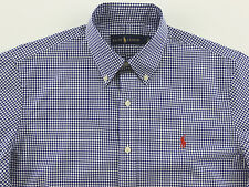 Men's RALPH LAUREN Navy Blue White Gingham Plaid Shirt Large L NWT NEW