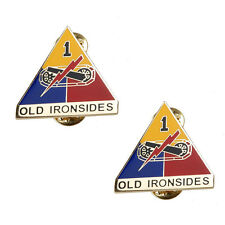PAIR OF US ARMY 1ST ARMORED DIVISION OLD IRONSIDES METAL BADGE PIN-33616
