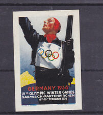 Vintage Poster Stamp LabeL GERMANY 1936 WINTER OLYMPICS Garmisch English lang#IM