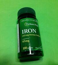 Hierro 65 mg Sulfato Ferroso 100 tabletas PURITAN´S PRIDE