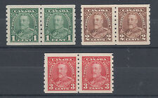 Canada Sc 228-230 MNH pairs. 1935 KGV perf 8 coil pairs, cplt set, VF+