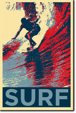SURFING ART PHOTO PRINT (OBAMA HOPE) POSTER GIFT SURF WAVES