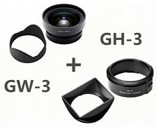 RICOH GW-3 + GH-3 Wide Angle Conversion Lens 21mm w/ Hood and Adapter from Japan
