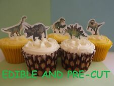 dinosaurs X24 edible stand up cup cake toppers wafer paper *pre-cut*