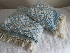 Vtg Cabin Crafts Pops Chenille Tufted Bedspreads PAIR Matching Minty Blue Cream