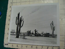 vintage AT&T Photo: crossing the DESERT IN THE 50'S, W CACTUS  repro