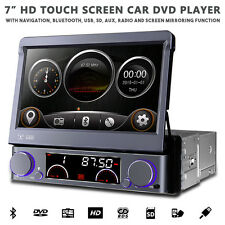 "7"" Motorised Flip Out HD Navigation Bluetooth Car Stereo With Radio DVD USB SD"